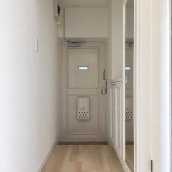 玄関はすっきり縦長。