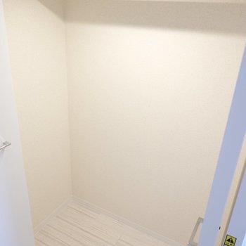 【廊下収納Ⅰ】リビング側の収納。ライト付きなので、お気に入りの服が映える。