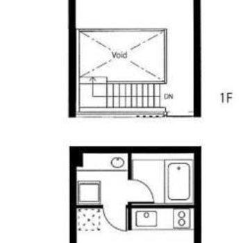 メゾネットタイプの1LDKのお部屋。