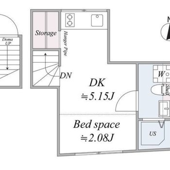動線の整理された印象、玄関は1階にあります。