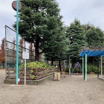 お部屋の側には公園がありますよ。
