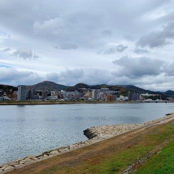 近くの河川敷をお散歩。