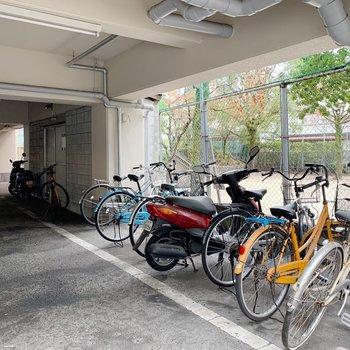 駐輪スペース広々でした〜。