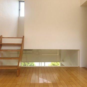【2階】ガラス張りから緑が。 スッキリして見えますね。※写真は1階の同間取り別部屋のものです
