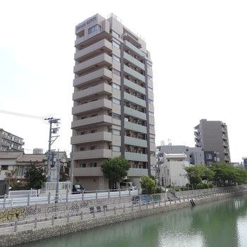 川沿いに建つシュっとしたマンション。