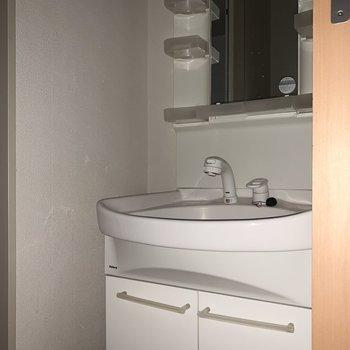 朝の準備が捗りそうな独立洗面台。※ 写真は通電前・フラッシュを使用して撮影しています