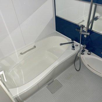 浴槽の形がなめらかで快適なバスタイムを送れそうです♬(※写真はフラッシュ撮影しています)