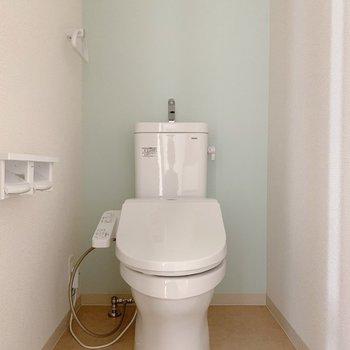 トイレ、広めでした…。さりげないミント色がかわいいね。