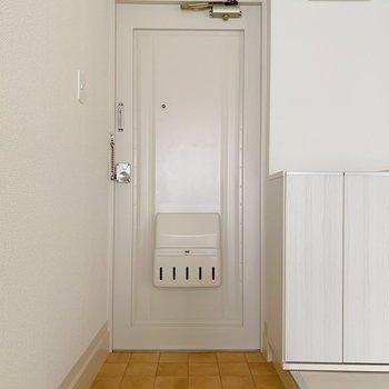 このドアがお気に入り。玄関にドライフラワー吊りたいな。