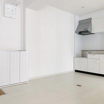 玄関とキッチンはこの距離感。狭くないから沢山食材買ってきても、まずはドサッと置けちゃう。笑