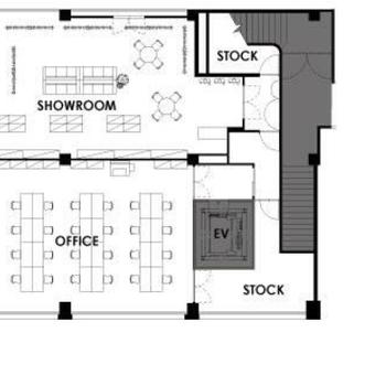 レイアウト例2 showroomとofficeで柱を境に機能ごとに分ける配置。