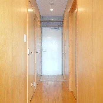 【廊下】左手前がトイレ、奥が脱衣所、右が洋室へのドアとなっています。