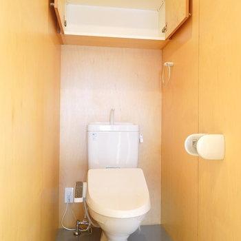 綺麗なトイレですね。上部にキャビネット付きが嬉しい。