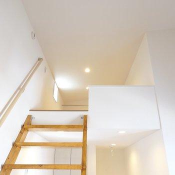 さて、手すりを握りながら階段を上がってロフトへ!