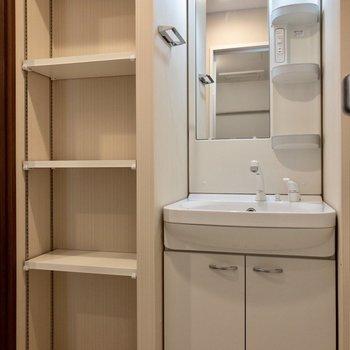 洗面台のお隣に収納が。タオルや洗剤を収納できます。