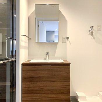 洗面台は鏡後ろに収納付き
