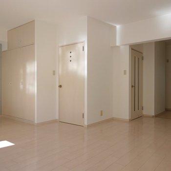 真ん中のドア2つはどちらとも廊下へ通じています。右奥がキッチンです。
