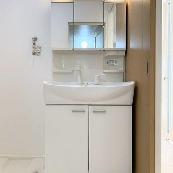 左手洗濯機置場、後ろ側がお風呂場