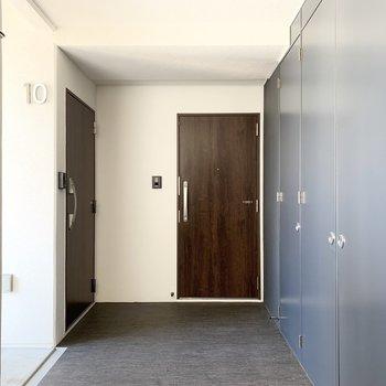 木調のドアとブルーグレーとホワイトの壁、ダークトーンな床が良い組み合わせの共用部。