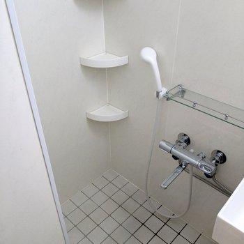 備え付けの棚にシャンプーなど置けます。水栓はサーモ水栓!