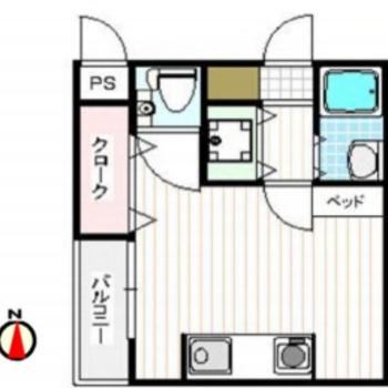 正方形の間取りのお部屋。