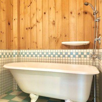 可愛いねこ足バスタブ。優雅に泡風呂でもしちゃおうかしら。