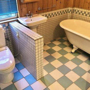 続いて右側の扉を開けると…かっ、可愛すぎるバスルームが!!