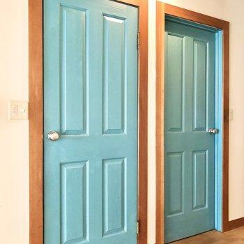チョコミントみたいな2つの可愛らしいドア。
