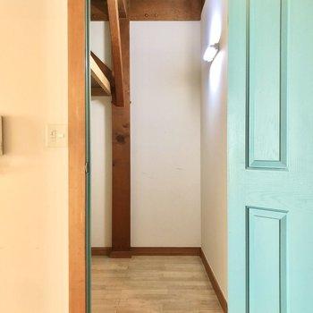 左側のドアは奥行きのあるクローゼットです。