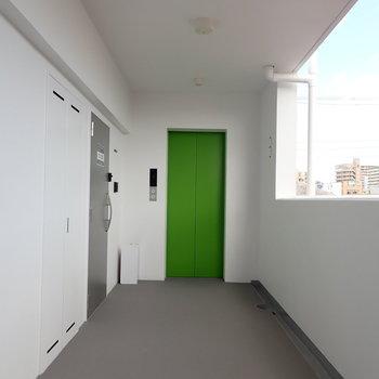 エレベーターの色が素敵。