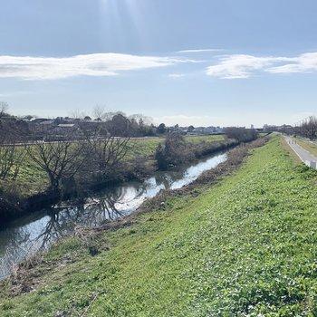近くに川が流れています。