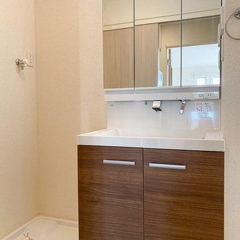 鏡の大きな独立洗面台で朝の準備もラクですね!