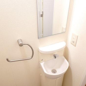 トイレ内にはカワイイサイズのお手洗いと鏡が!わざわざ洗面台まで行かなくて済む。