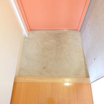 玄関はコンパクトサイズではありますが、脱いで履くだけなら何ら困ることはなさそう。