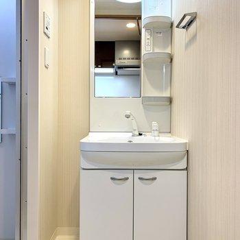 洗面台は収納ポケットがあるので、朝の身支度楽々※写真は3階の同間取り別部屋のものです