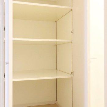 洋室側にはこんな収納も。ペット用品はここに全部入りそうです。(※写真は4階の同間取り別部屋のものです)