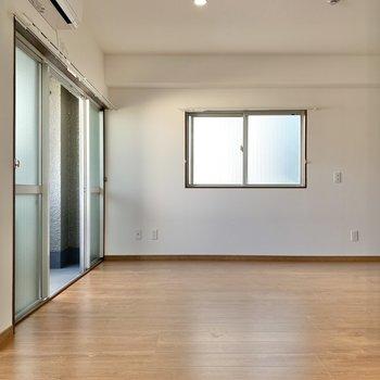 キッチン側から。角を曲がってすぐに、サニタリールームへのドアがあります。