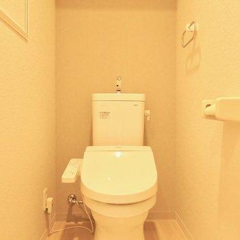 トイレもウォシュレット付き(※写真は2階の同間取り別部屋のものです)
