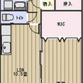 間取りは2LDK。リビングと洋室が同じ広さは珍しいですね。