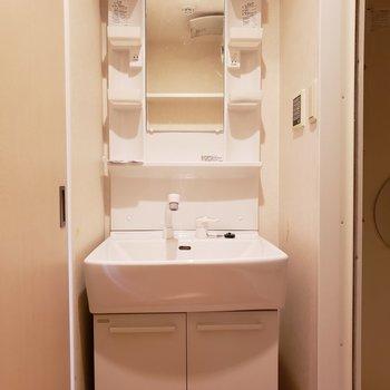 女子はぜったいほしい独立洗面台!(※写真は3階の同間取り別部屋、清掃前のものです)