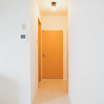 お次は廊下へ。正面が脱衣所、右がトイレ、左が洋室。