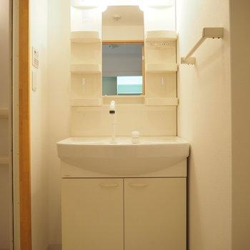 独立洗面台です。朝の準備もしやすそう!(※写真は2階の同間取り別部屋のものです)
