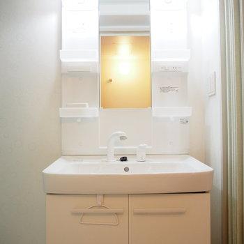 独立洗面台の隣に、収納スペースがあります!※写真は4階同間取り・別部屋のものです。