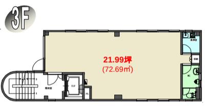森下 21.99坪 オフィス の間取り