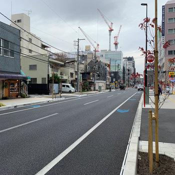 お部屋前の大通りは幅の広い作り。