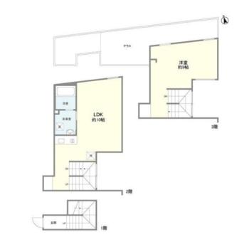 玄関は1階、2階にリビング、洋室とルーバルは3階にあります。
