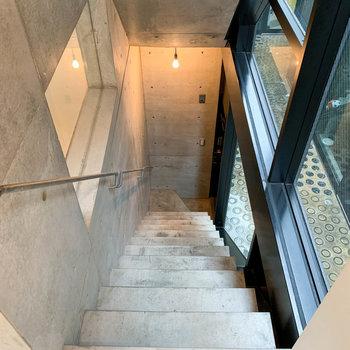 階段を降りると玄関です。階段の右側は窓になっています。