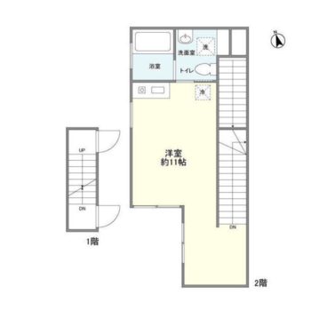 玄関は1階。居室は2階にあります。