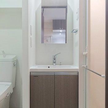 シックな雰囲気の洗面台。横にタオル掛けがあるのがGOOD。※写真は前回募集時のものです