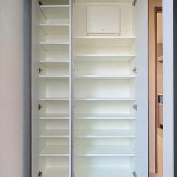 靴棚は量が入りますよ。十分な収納力がありますね。※写真は2階の同間取り別部屋のものです